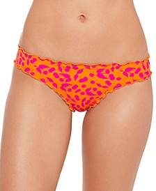 Juniors' Cherry on Top Printed Ruffled Hipster Bikini Bottoms, Created for Macy's