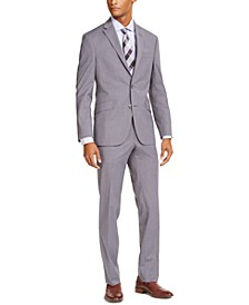 Men's Slim-Fit Techni-Cole Stretch Light Gray Tic Suit, Created for Macy's