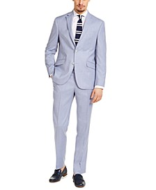 Men's Slim-Fit Techni-Cole Stretch Light Blue Windowpane Suit, Created for Macy's