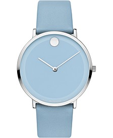 Women's Swiss Modern 47 Blue Leather Strap Watch 40mm, Created for Macy's
