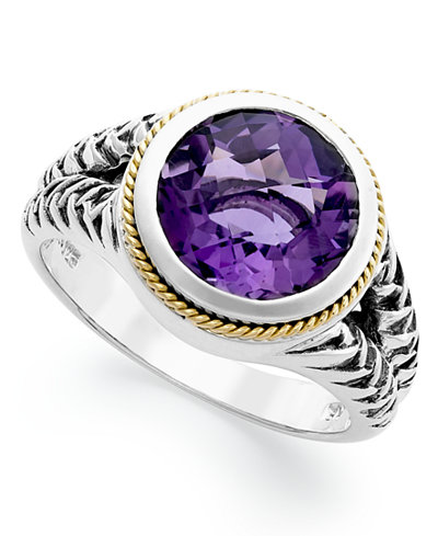 Balissima by EFFY Amethyst Round Ring (3-3/8 ct t.w.) in 18k Gold and Sterling Silver
