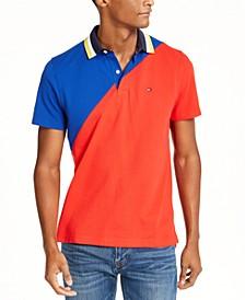 Men's Seaport Custom-Fit Colorblocked Logo-Print Polo Shirt
