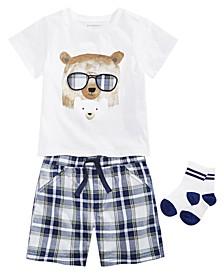 Baby Boys Bear Buddies T-Shirt, Plaid Shorts & Socks Separates, Created for Macy's