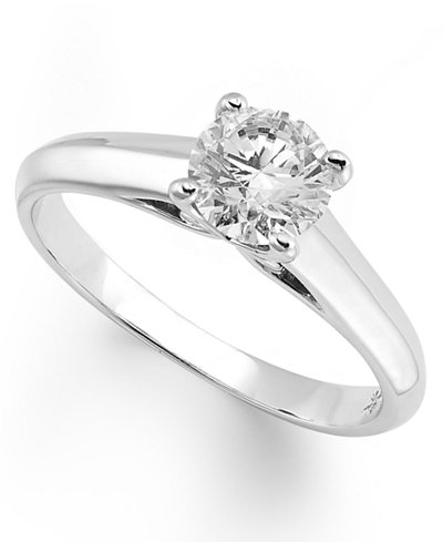 X3 Certified Diamond Solitaire Engagement Ring in 18k White Gold (1/2 ct. t.w.), Created for Macy's