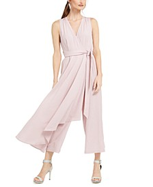 Gauze Mock-Wrap Jumpsuit