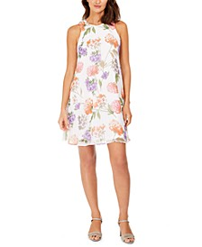 Petite and Regular Scattered Floral Trapeze Dress