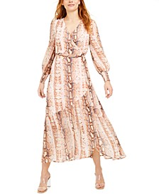 Snake-Print Wrap Maxi Dress, Created for Macy's