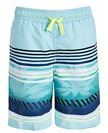 Big Boys Palm Stripe Swim Trunks, Created For Macy's