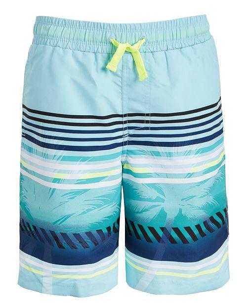 Ideology Big Boys Palm Stripe Swim Trunks, Created For Macy's