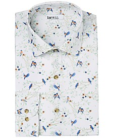 Men's Slim-Fit Performance Stretch Scenic Robin-Print Dress Shirt, Created for Macy's