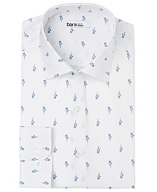 Men's Slim-Fit Performance Stretch Simple Daisy-Print Dress Shirt, Created for Macy's