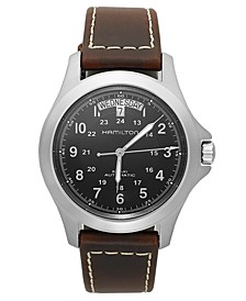 Watch, Men's Swiss Automatic Khaki King Brown Leather Strap 40mm H64455533