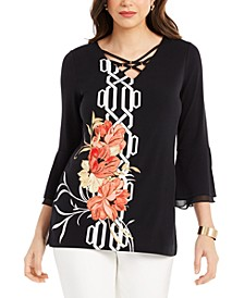 Printed Bell-Sleeve Gold-Tone-Embellished Tunic Top, Created for Macy's