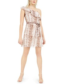 Ruffled One-Shoulder Snake-Print Mini Dress, Created For Macy's