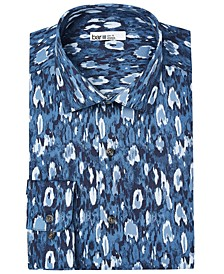 Men's Slim-Fit Performance Stretch Painted Leopard-Print Dress Shirt, Created for Macy's