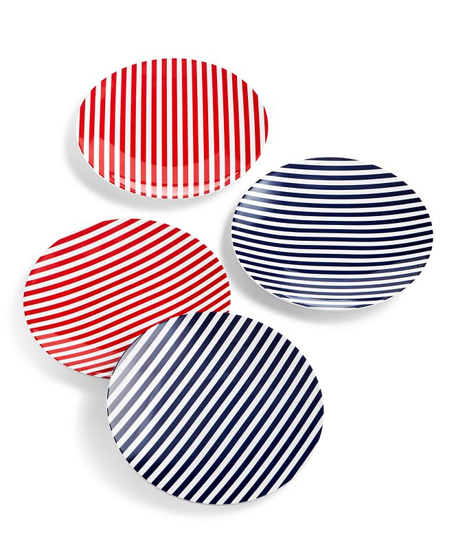 Martha Stewart Collection Americana Melamine Appetizer Plates, Set of 4, Created for Macy's