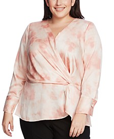 Plus Size Vapor Whisper Surplice Blouse