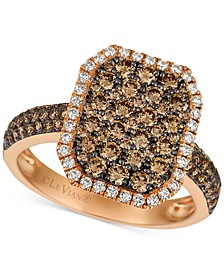Chocolatier® Diamond Cluster Halo Ring (1-1/2 ct. t.w.) in 14k Rose Gold