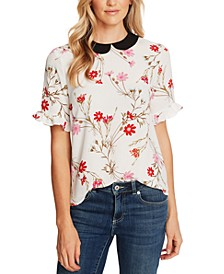 Floral-Print Peter-Pan-Collar Top