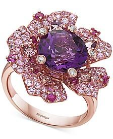 EFFY® Multi-Gemstone (6-1/5 ct. t.w.) & Diamond Accent Flower Ring in 14k Rose Gold