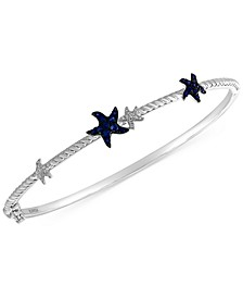 EFFY® Sapphire (1/3 ct. t.w.) & Diamond (1/10 ct. t.w.) Starfish Bangle Bracelet in 14k White Gold