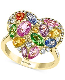 EFFY® Multi-Gemstone (3-1/2 ct. t.w.) & Diamond (1/3 ct. t.w.) Heart Ring in 14k Gold