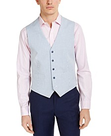 Men's Modern-Fit TH Flex Stretch Blue/White Seersucker Stripe Vest