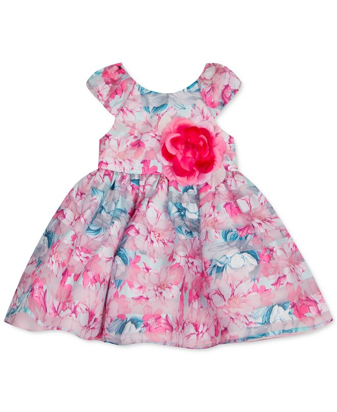 Rare Editions Baby Girls Striped Floral-Print Organza Dress