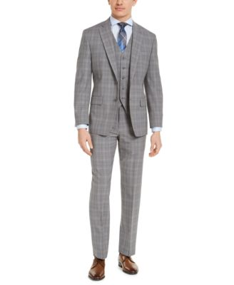 Men's Classic-Fit Airsoft Stretch Gray Plaid Suit Pants