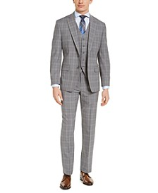 Men's Classic-Fit Airsoft Stretch Gray Plaid 3-Piece Suit Separates