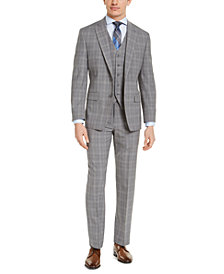 Michael Kors Men's Classic-Fit Airsoft Stretch Gray Plaid 3-Piece Suit Separates