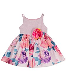 Baby Girls Glitter-Bodice Floral-Print Dress