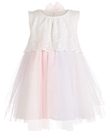Baby Girls Eyelet & Tulle Dress, Created For Macy's