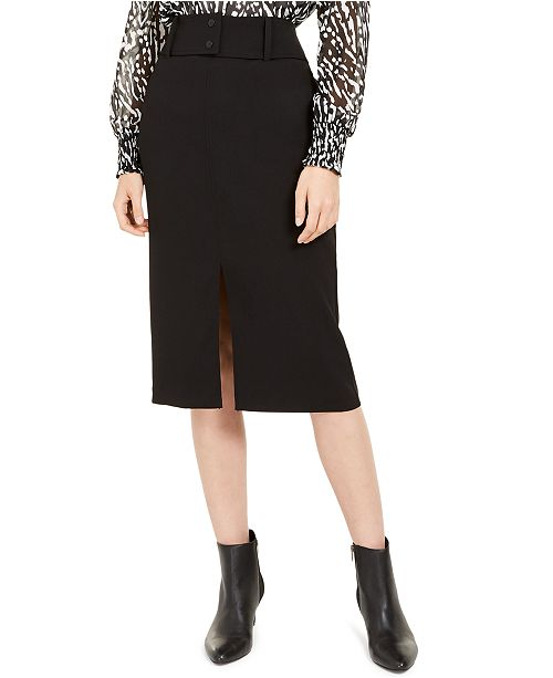 Alfani Belted Front-Slit Skirt, Created for Macy's