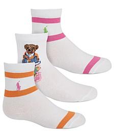Toddler Girls 3-Pk Madras Bear Socks