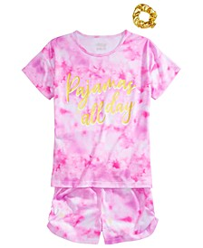 Big Girls Tie-Dyed Pajamas & Scrunchie Set
