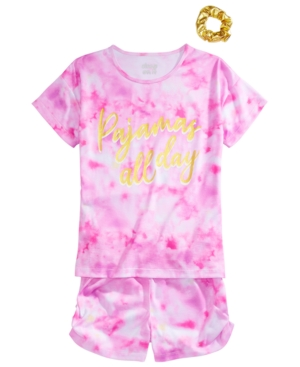 Max & Olivia Big Girls Tie-Dye Pajamas & Scrunchie Set