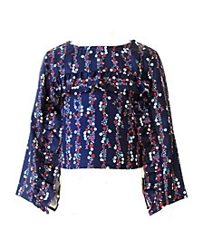 Little Girls Floral Ruffle Top