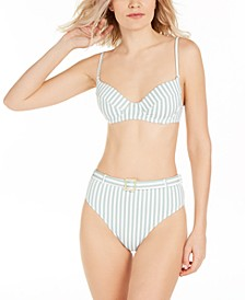 Striped Lydia Underwire Bikini Top & Striped High-Waist Bikini Bottoms, Created for Macy's
