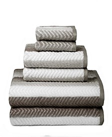 American Dawn Bryce Stripe Face With Solid Back 6 Piece Bath Towel Set