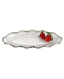 """Silver Edge Wavy Oval Hand Painted Mouth Blown Glass 14 x 7"""" Platter"""