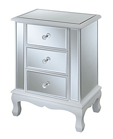 Gold Coast Vineyard 3 Drawer Mirrored End Table