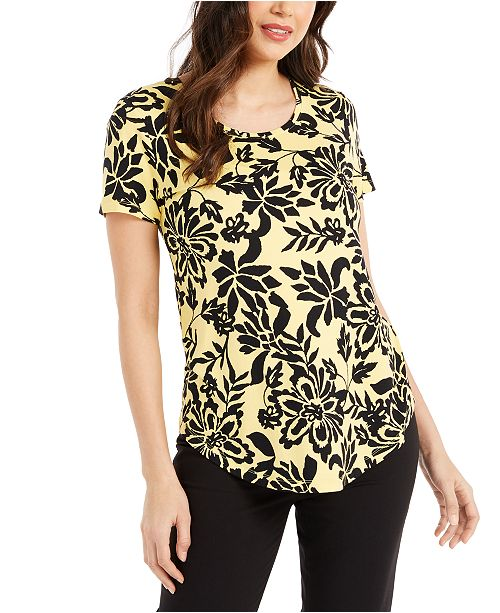 JM Collection Scoop-Neck Damask Top, Created for Macy's