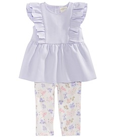 Baby Girls 2-Pc. Ponté-Knit Ruffle Tunic & Floral-Print Leggings Set, Created for Macy's