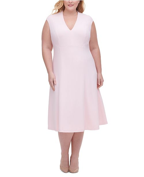 Tommy Hilfiger Plus Size Scuba Crepe Fit & Flare Midi Dress