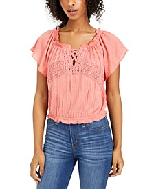Juniors' Off-The-Shoulder Peasant Top