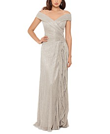 Off-The-Shoulder Metallic Pleated Gown