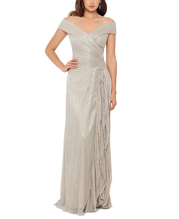 XSCAPE Off-The-Shoulder Metallic Pleated Gown