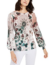 INC Petite Printed Blouson-Sleeve Sweater, Created for Macy's