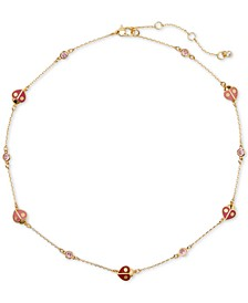 "Gold-Tone Crystal Ladybug Collar Necklace, 17"" + 3"" extender"